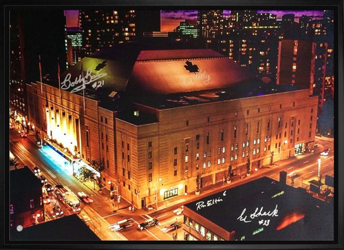 20x29 Maple Leaf Gardens Canvas signed by Kelly/ Baun/ Ellis and Shack