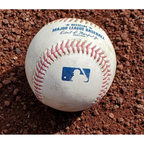 Photo of 2021 Phillies Game-Used Baseball - Roman Quinn Outfield Assist to Home Plate