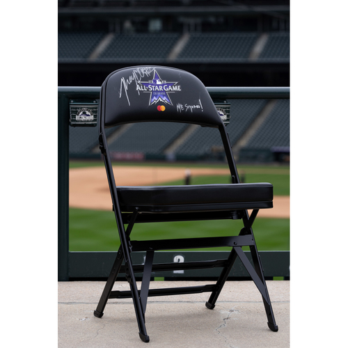 Photo of 2021 Celebrity Softball Game Autographed On Field Chair - Jhay Cortez