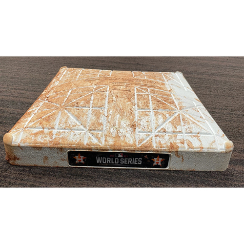 Photo of Game-Used Base - 2021 World Series - Atlanta Braves vs. Houston Astros - Game 2 - First Base - Used Innings 1-3