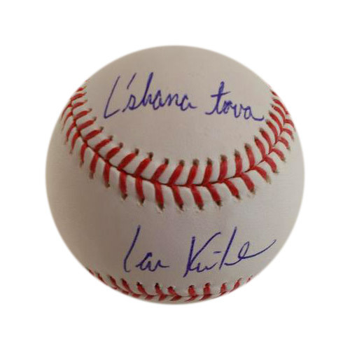 Photo of Ian Kinsler Autographed Baseball with L'Shana Tova (Happy New Year) Inscription