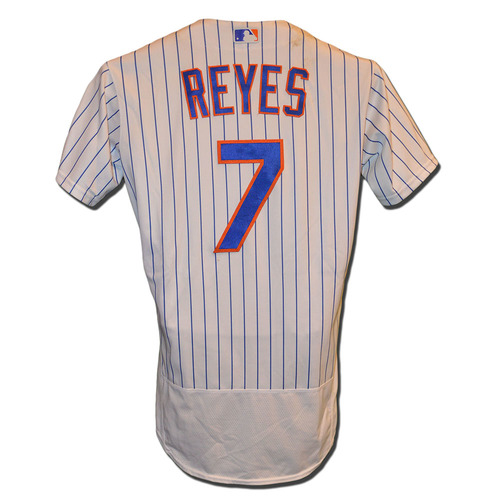 Photo of Jose Reyes #7 - Game Used White Pinstripe Jersey - Mets vs. Marlins - 8/30/16
