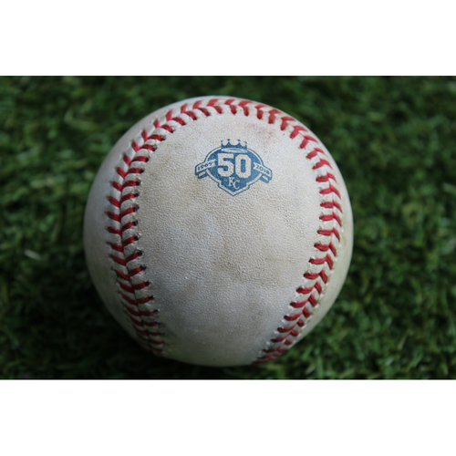 Photo of Game-Used Baseball: Ben Zobrist 43rd Career Triple (CHC @ KC - 8/6/18)