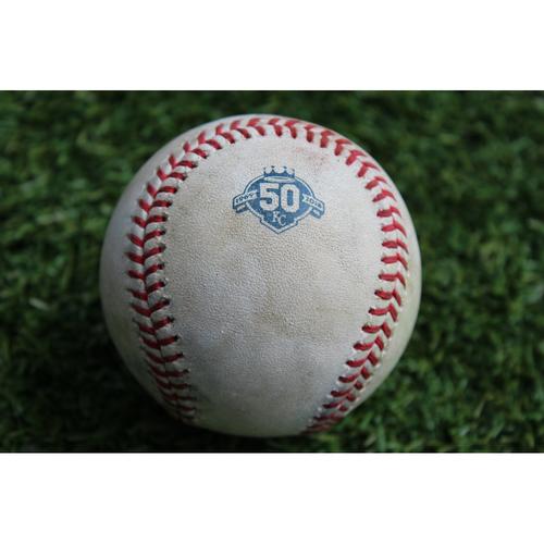 Photo of Game-Used Baseball: Ben Zobrist 43rd Career Triple (CHC @ KC - 8/6/18)