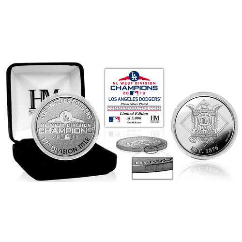 Photo of Los Angeles Dodgers 2018 NL West Division Champions Silver Mint Coin