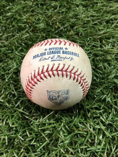 Photo of 20th Anniversary Game Used Baseball: Matt Joyce RBI double off Adam Kolarek - September 15, 2018 v OAK