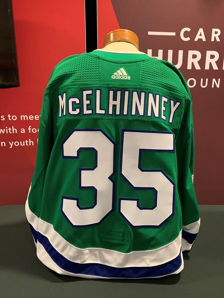 Curtis McElhinney #35 Autographed, Game Worn Hartford Whalers Jersey