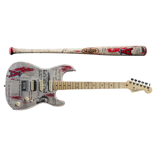 Photo of One-of-a-kind Artist-Painted Angels Louisville Slugger Bat and Fender Stratocaster Guitar