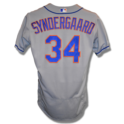 Photo of Noah Syndergaard #34 - Game Used Road Grey Jersey - 7.1 IP, 0 ER, 11 K's - Mets vs. White Sox - 7/30/2019