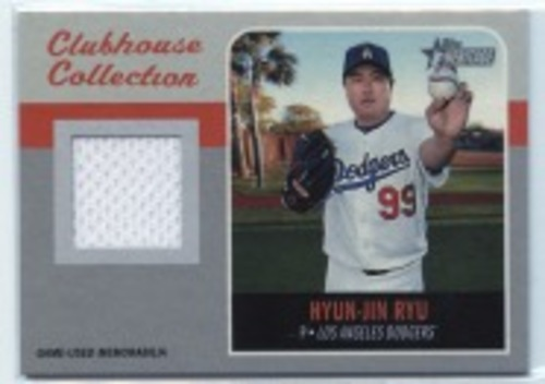 Photo of 2019 Topps Heritage Clubhouse Collection Relics #CCRHR Hyun-Jin Ryu HN