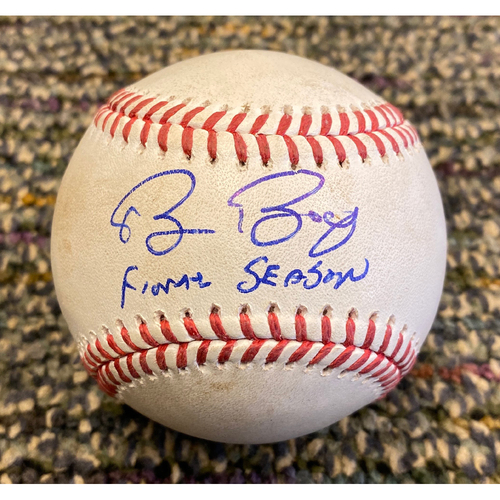 "Photo of 2019 Autographed Game Used Baseball signed by #15 Bruce Bochy inscribed ""Final Season"" used on 9/25 vs. COL - T-4: Jeff Samardzija to Tony Wolters - Foul Ball"