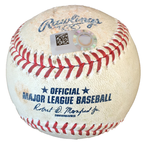 Minnesota Twins Game-Used Postseason Baseball: Pitcher: Trevor May, Batters: Giovanny Urshela (Strike Out), DJ LeMahieu (Foul, 4 pitches) - Top 9 - ALDS Game 3 vs. NYY