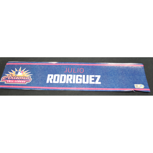 Photo of Arizona Fall League - Game-Used Locker Tag - Julio Rodriguez (SFG), Jersey Number: 39