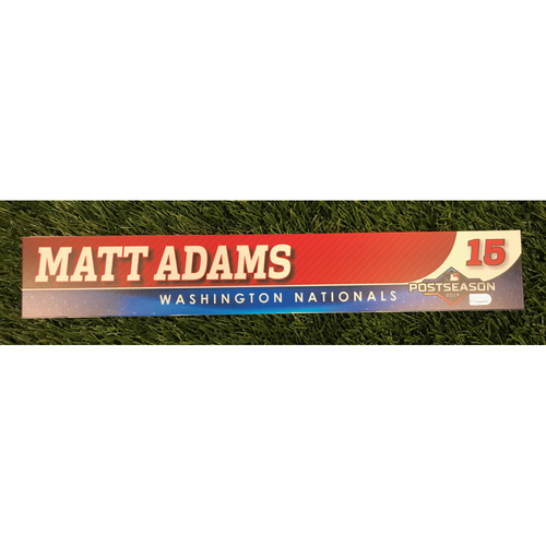 Photo of Game-Used Matt Adams 2019 Postseason Locker Tag