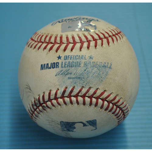 Photo of Game-Used Baseball - Pitcher - Jose Veras, Batter - Skip Schumaker - Fouled Back to Screen - Albert Pujols 30th HR of 2011 Game (Hit 30 HR in 11 straight seasons) - 8/16/2011