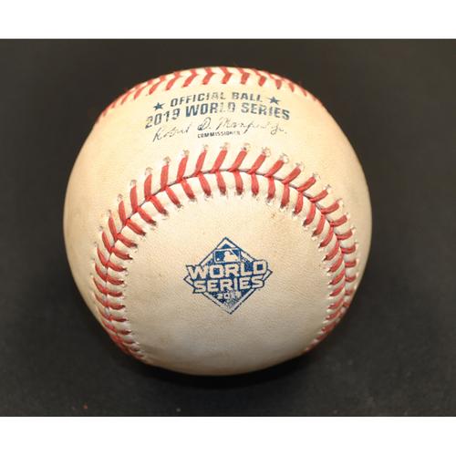 Photo of Game-Used Baseball - 2019 World Series - Washington Nationals vs. Houston Astros - Batter - Michael Brantley, Pitcher - Stephen Strasburg - Bottom 1 - 2-1 Count - Game 6 - 10/29/2019