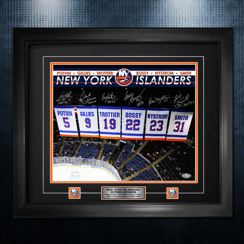 New York Islanders Retired Numbers Autographed Banners 26x32 Frame