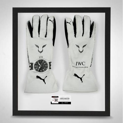 Photo of Lewis Hamilton 2019 Framed Official Race Spec Race Gloves