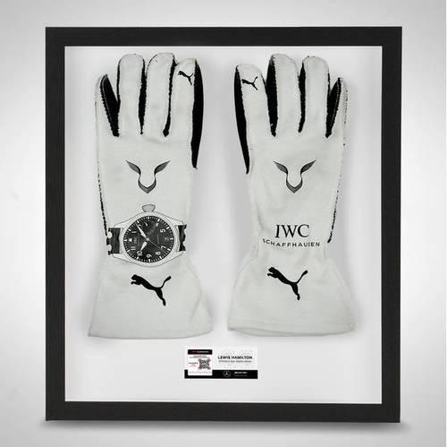 Photo of Lewis Hamilton 2019 Framed Official Race Spec Race Gloves