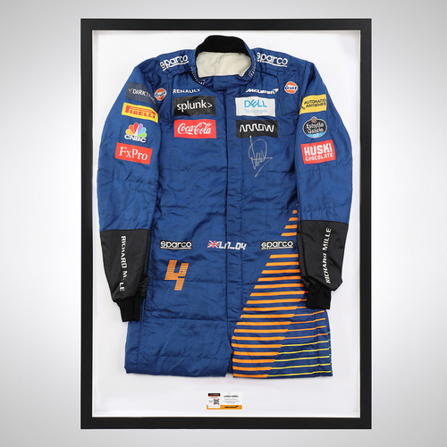 Photo of Lando Norris 2020 Framed Signed Race-worn Race Suit - Portuguese GP