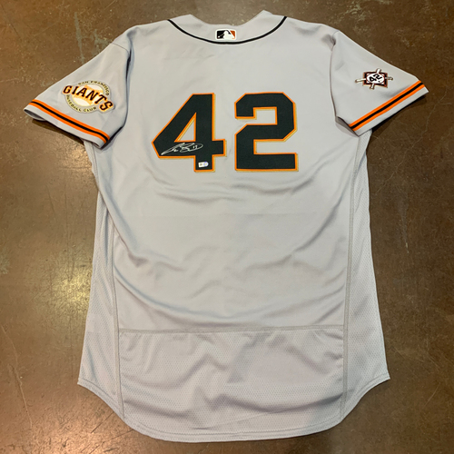 Photo of 2021 Autographed Game Used Jackie Robinson 42 Day Road Jersey worn by #13 (42) Austin Slater on 4/16 @ MIA - Size 46