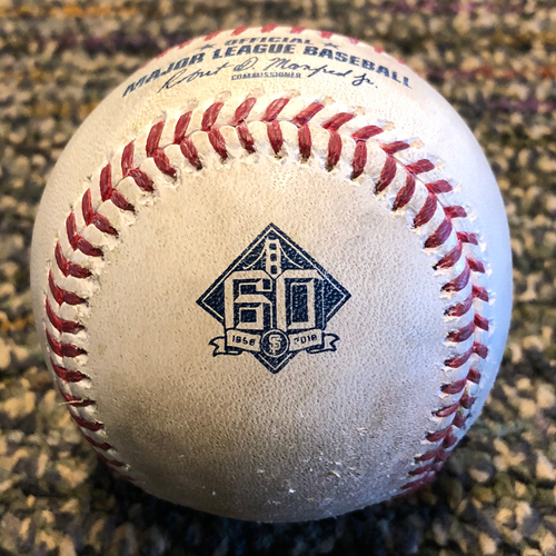 Photo of 2018 San Francisco Giants - Game-Used Baseball - 60th Anniversary - MLB Debut - Andrew Suarez to Jarrod Dyson ground out and Ketel Marte ball. (April 11, 2018)