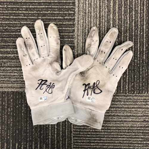 Photo of Team-Issued Autographed Batting Gloves - #5 Nick Hundley