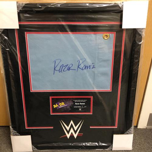 Razor Ramon Signed & Framed Ring Canvas Plaque (Random Number)