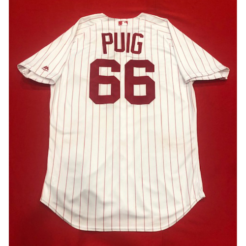 Photo of Yasiel Puig -- 1967 Throwback Jersey (Final Reds Throwback Worn Before Being Traded - Starting RF) -- Game-Used for Rockies vs. Reds on July 28, 2019 -- Jersey Size: 48