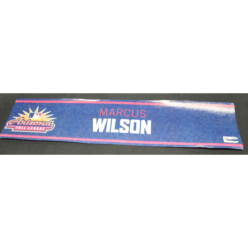 Photo of Arizona Fall League - Game-Used Locker Tag - Marcus Wilson (BOS), Jersey Nuymber: 27