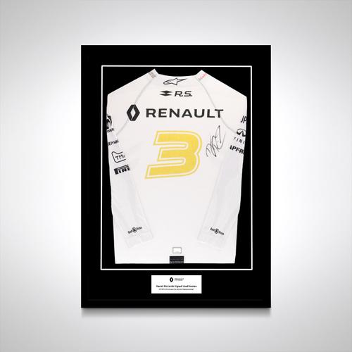 Photo of Daniel Ricciardo 2019 Renault F1 used signed (Back) nomex top (White)