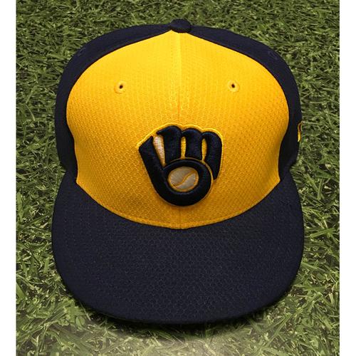 Photo of Lorenzo Cain 2019 Team-Issued Navy Ball&Glove Batting Practice Cap