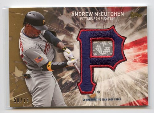 Photo of 2017 Topps Independence Day Team Logo Patch Gold #IDTLAM Andrew McCutchen