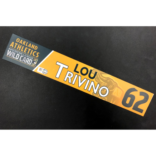 Photo of Game-Used 2020 AL Wild Card Locker Nameplate - Lou Trivino