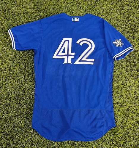 Photo of CHARITY AUCTION: Authenticated Game Used #42 Jersey: Luis Rivera (Aug 28, 20). Size 46.