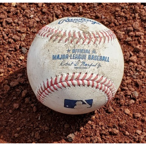 Photo of 2021 Phillies Game-Used Baseball - Vince Velasquez Two Strikeouts (Cain, Yelich)