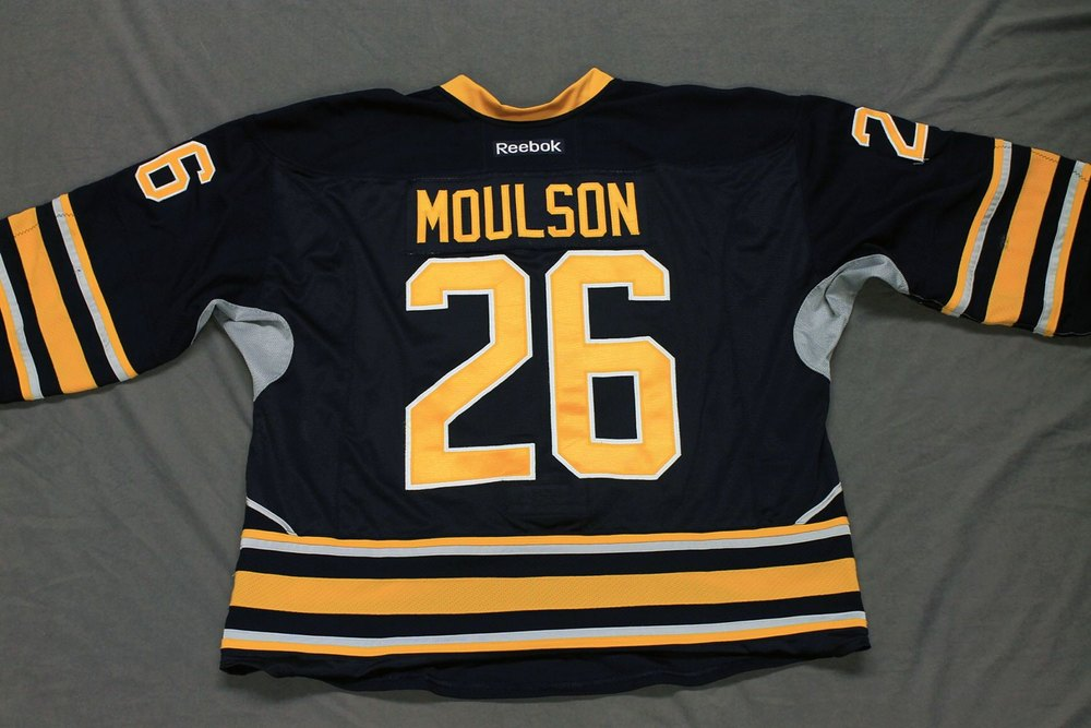 Matt Moulson Game Worn Buffalo Sabres Home Jersey.  Serial: 1014-1. Set 1 - Size 58.  2013-14 season.