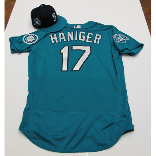Photo of Mitch Haniger Green Team-Issued Jersey & Cap With Edgar Martinez Patch 8-11-2017 - Sizes: Jersey - 46, Cap  7 1/4