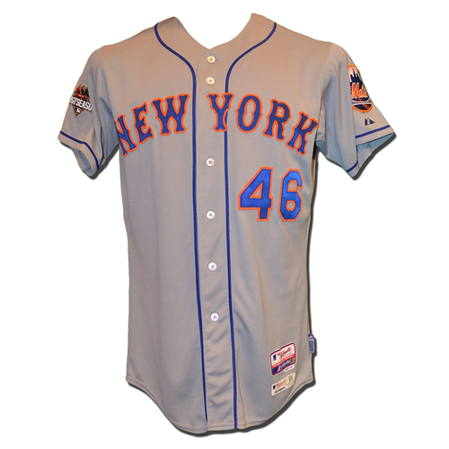 Photo of Tyler Clippard #46 - Game Used Road Grey 2015 Postseason Jersey - Worn NLDS Game 5 - Mets vs. Dodgers - 10/15/15 - Worn NLCS Game 3 - Pitches Scoreless 8th Inning - Mets vs. Cubs - 10/20/15