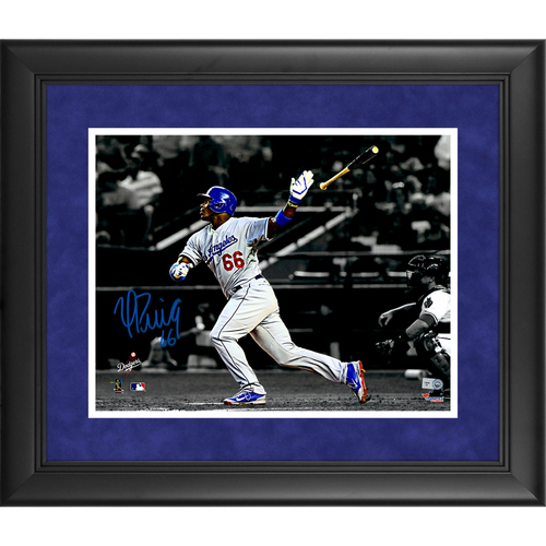 "Photo of Yasiel Puig Los Angeles Dodgers Framed Autographed 11"" x 14"" Spotlight Photo"