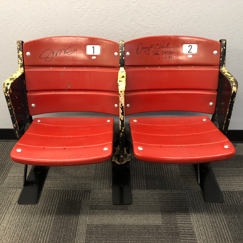 "Photo of Candlestick Park Stadium Artifact - Pair of Candlestick Park Seats Signed by #16 Joe Montana & #87 Dwight Clark Inscribed ""The Catch 1.10.82"" - LOCAL PICK UP ONLY!"