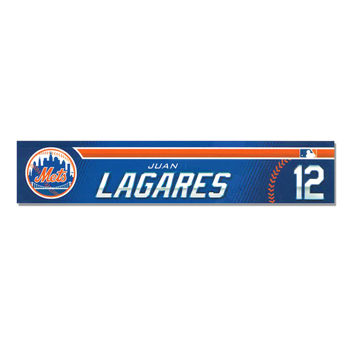 Photo of Juan Lagares #12 - Game Used 2019 Spring Training Locker Nameplate - Mets vs. Astros - 2/24/2019