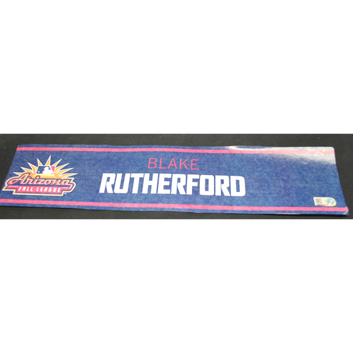 Photo of Arizona Fall League - Game-Used Locker Tag - Blake Rutherford (CWS), Jersey Number: 34