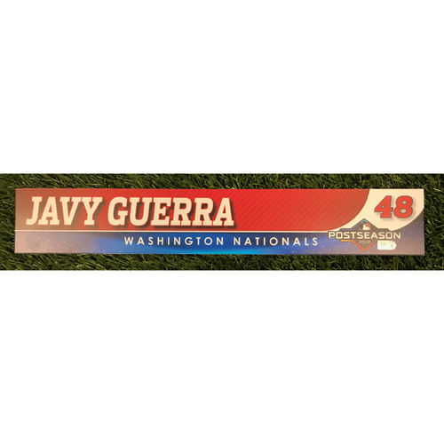 Photo of Game-Used Javy Guerra 2019 Postseason Locker Tag