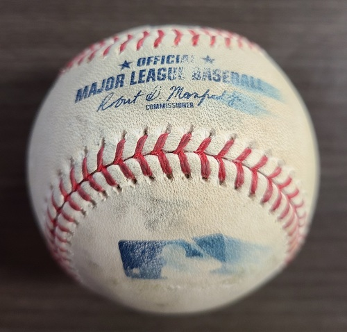 Photo of Authenticated Game Used Baseball: Foul by Rio Ruiz against Anthony Kay (Aug 30, 20 vs BAL). Top 6. Game played in Buffalo.