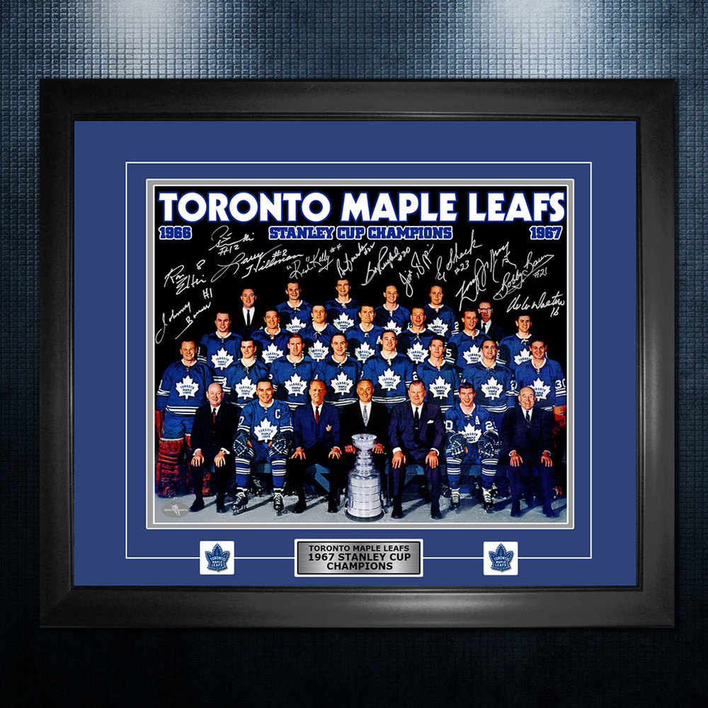 1967 Stanley Cup Champions Toronto Maple Leafs Autographed 26x32 Frame