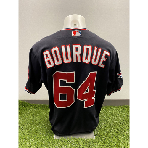 Photo of James Bourque 2020 Game-Used World Series Champions Navy Script Jersey