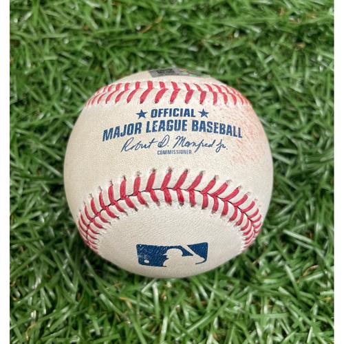 Photo of Game Used Baseball: Franmil Reyes 2RBI double off J.P. Feyereisen - Cesar Hernandez and Jose Ramirez Score - Top 6 - July 5, 2021 v CLE