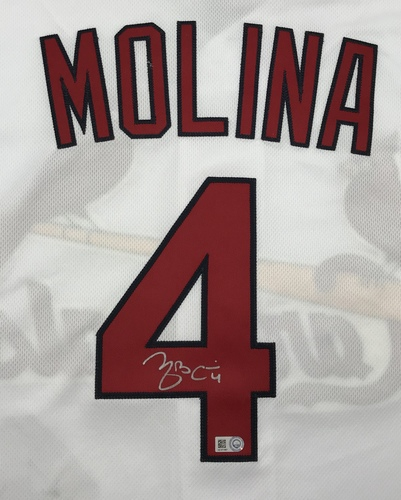 Photo of Yadier Molina Autographed White Cardinals Jersey