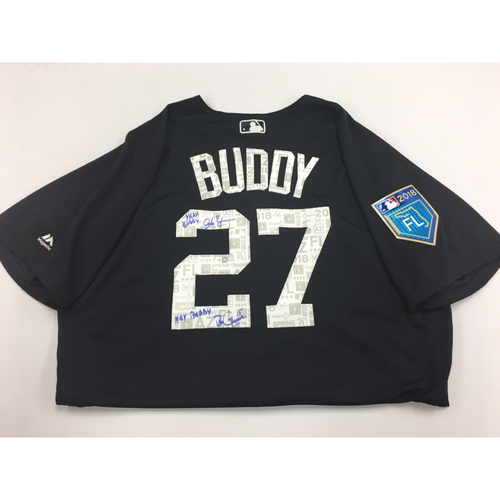 Photo of BUDDY Jersey #27 - Spring Training Worn Detroit Tigers Jersey Autographed and Inscribed by Jordan Zimmermann and Ron Gardenhire (MLB Authentic)